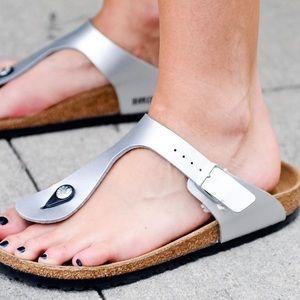 Birkenstock Silver Gizeh Birko-Flor Womens Sandals